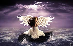 Картинки Ангелы Вода Камни Крылья Фэнтези Девушки