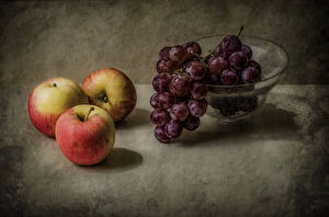 Картинки Яблоки Виноград Натюрморт