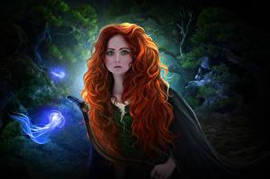 Картинки Лучники Храбрая сердцем Рыжая Взгляд Волосы Фантастика Девушки