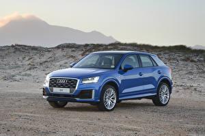 Картинки Audi Синие Металлик 2017 Q2 TFSI S line машины