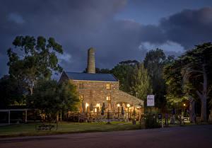 Фотографии Австралия Дома Ночь Деревья Уличные фонари Leonards Mill Second Valley Города