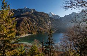 Картинки Австрия Озеро Горы Побережье Almsee