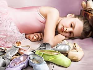 Фото Спит Девочки Балет Отдых Ballerina Ребёнок