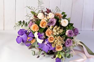 Обои Букеты Розы Орхидеи Белокрыльник Стена