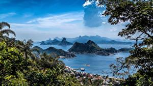Картинка Бразилия Пейзаж Побережье Океан Рио-де-Жанейро Залив Скала Parque da Cidade Природа