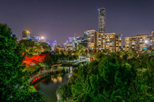 Фото Брисбен Австралия Здания Речка Ночные