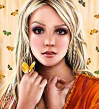 Фотография Бритни Спирс Рисованные Блондинка Смотрит Лицо Девушки