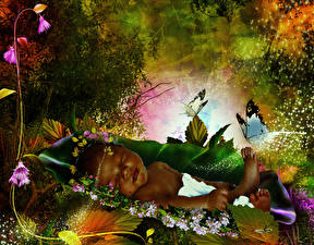 Картинка Бабочки Фантасмагория Спящий Младенцы Дети