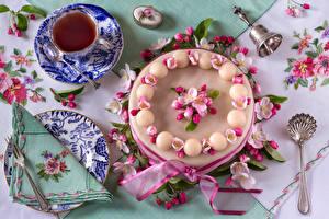 Фотографии Торты Чай Чашке Дизайна Тарелка Ложки Пища