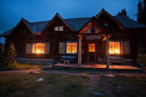 Фото Канада Дома Вечер Банф Особняк Дизайн Деревянный Города