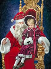 Фотография Рождество Девочки Санта-Клаус Трон Вдвоем Сидящие Дети