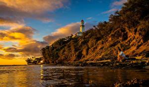 Фотография Берег Маяки Рассветы и закаты США Гавайи Скала