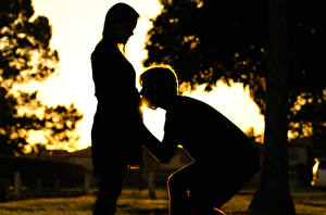 Обои Любовники Силуэт Счастье Девушки