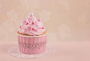 Фотографии Капкейк кекс Вблизи Сладости Розовый Пища