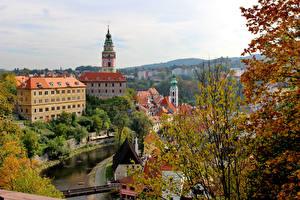 Фотография Чехия Здания Речка Осень Cesky Krumlov Города
