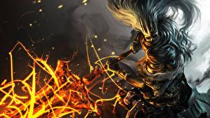 Картинки Dark Souls Воители Мечи Fan ART 3, Nameless King Игры Фэнтези