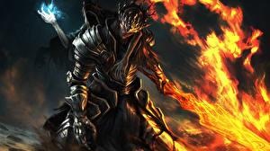 Картинка Dark Souls Воины Пламя Броня Мечи Fan ART 3, Lorian, Lothric Фантастика Фэнтези