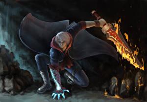 Картинка Devil May Cry 4 Воины Пламя Мечи Плащ Nero Игры Фэнтези