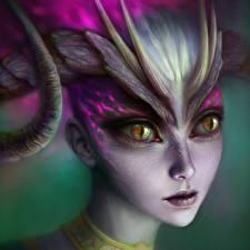 Фото Dragon Age II Демоны Лицо Смотрит Desire Игры