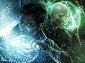 Картинки Dragon Age Магия Двое Inquisition, Dorian Pavus, Solas Игры Фэнтези