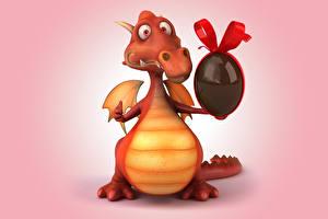 Фото Драконы Пасха Яйца Забавные Цветной фон Фантастика 3D_Графика