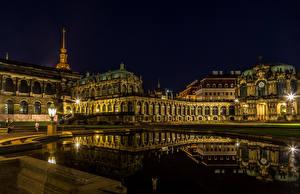 Фотографии Дрезден Германия Вечер Пруд Дворец Музеи Уличные фонари Zwinger город