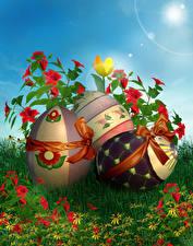 Фотографии Пасха Праздники Альстрёмерия Яйца Бантик Дизайн Трава Цветы