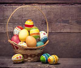 Обои Пасха Праздники Доски Яйца Корзина