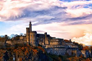 Картинка Эдинбург Великобритания Шотландия Здания Облака