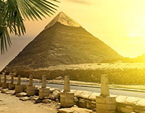 Фотографии Египет Дороги Камень Пирамида Cairo Природа