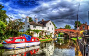 Картинки Англия Здания Реки Мосты Катера HDR Lymm город