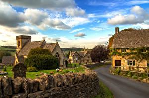 Картинка Англия Дома Дороги Камни Улица Snowshill Города