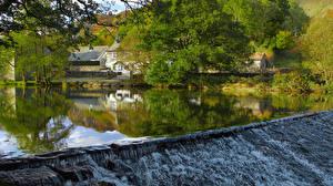 Обои Англия Речка Водопады Деревья River Brathay Cumbria Природа