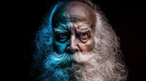 Картинки Лицо Хмурость Борода Старый мужчина Взгляд Черный фон
