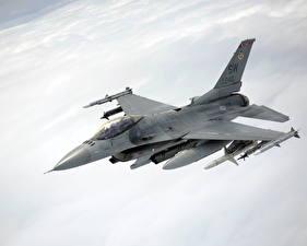 Картинка Самолеты Истребители F-16 Fighting Falcon Летящий Американские