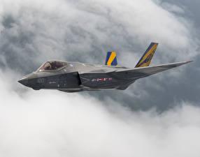 Фотография Самолеты Истребители Полет Американские F-35C Lightning II