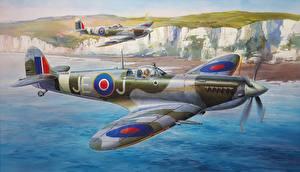 Картинка Самолеты Истребители Рисованные Английский Supermarine Spitfire Mk.IXc Армия