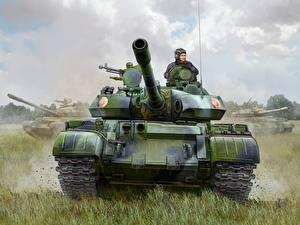 Картинка Flames of War Танки Рисованные Т-55АМ2 Игры