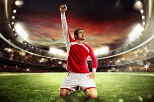 Обои Футбол Мужчины Поля Стадион Руки Униформа Спорт