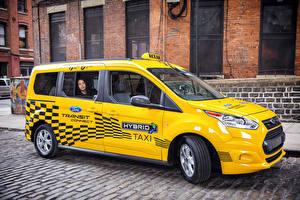 Обои Форд Такси - Автомобили Желтый Металлик 2017 Transit Connect Hybrid Taxi Prototype Машины