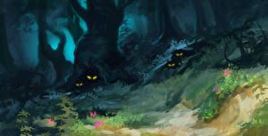 Фотография Леса Сверхъестественные существа Деревья Фэнтези