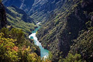 Фотография Франция Реки Горы Леса Gorges Du Verdon Природа