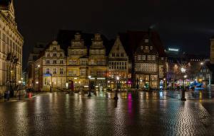 Фотографии Германия Здания Городская площадь В ночи Уличные фонари Bremen город