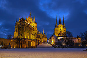 Обои Германия Храмы Собор Дизайн Ночь Лестница Erfurt Города
