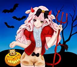 Фото Хеллоуин Летучие мыши Трезубец Фэнтези Девушки Аниме
