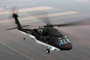 Картинки Вертолеты Летящий Американские S-70i, BLACK HAWK