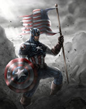 Фотография Герои комиксов Капитан Америка герой Щит Флаг Фэнтези