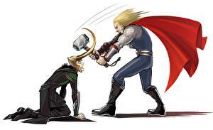 Фотографии Герои комиксов Мстители (фильм, 2012) Тор герой 2 Плащ Белый фон Кино Loki Фильмы