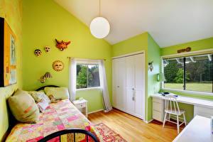 Фотография Интерьер Детская комната Дизайн Кровать Стол Стулья Лампа