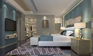 Картинка Интерьер Дизайн Спальня Кровать Лампа 3D Графика